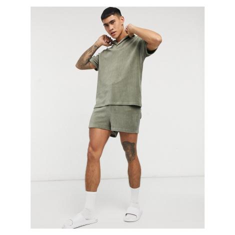 ASOS DESIGN lounge shirt and short pyjama set in chunky velour rib-Green