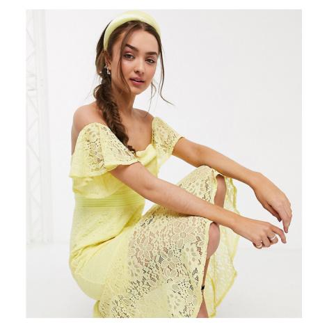 Little Mistress Petite lace fishtail maxi dress in lemon-Yellow