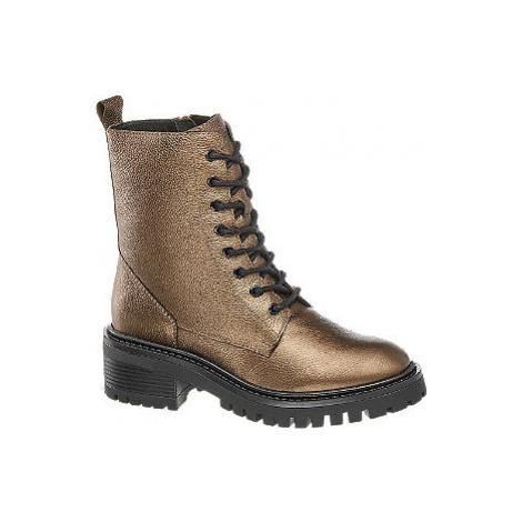 Hnědá metalická kožená šněrovací obuv 5th Avenue