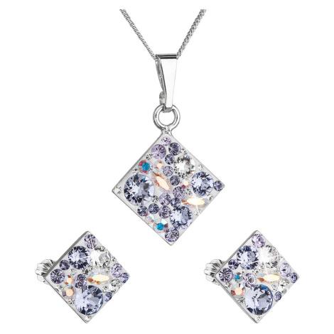 Sada šperků s krystaly Swarovski náušnice, řetízek a přívěsek fialový kosočtverec 39126.3 violet Victum