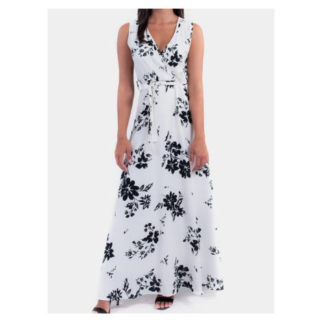 Culito from Spain bílé maxi květované šaty Maxi Blanco & Azul