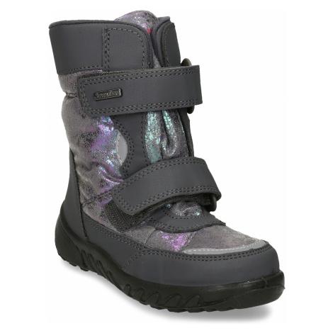 Zimní obuv dětská šedá s metalickými odlesky Richter