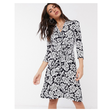 French Connection wrap dress in blue floral