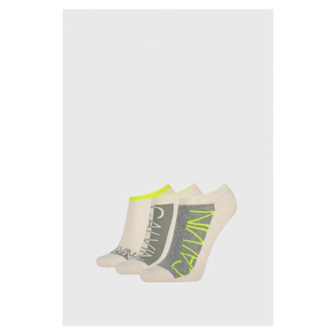 3 PACK dámských ponožek Calvin Klein Nola béžové