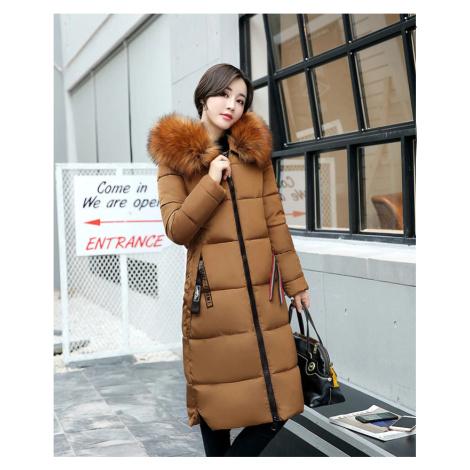 Dámská stylová dlouhá bunda zimní parka s kožešinovou kapucí