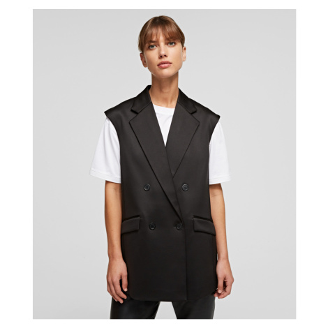 Vesta Karl Lagerfeld Tailored Gilet W/ Pleated Back - Černá