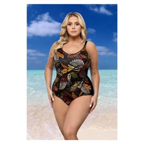Lorin Jednodílné dámské plavky Celeste černé s listy
