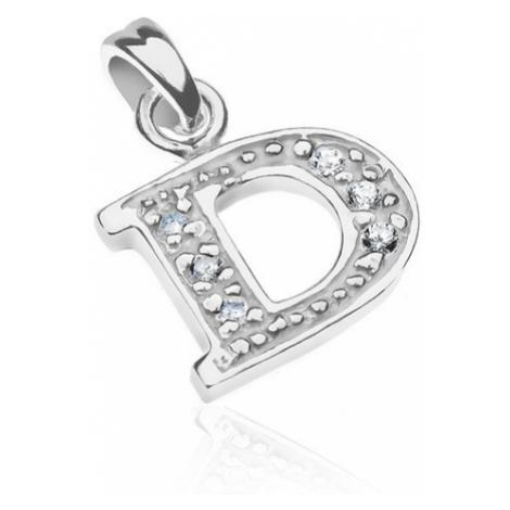 Stříbrný přívěsek - tiskací písmeno D, třpytivý vnitřek se zirkony Šperky eshop