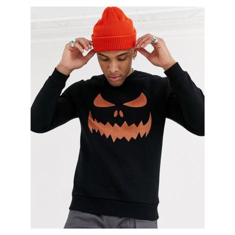 ASOS DESIGN halloween oversized sweatshirt with pumpkin glitter print-Black
