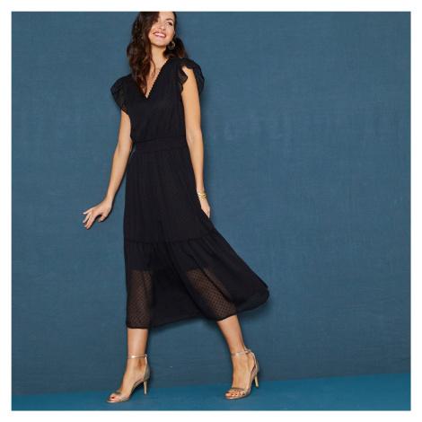 Blancheporte Dlouhé volánové šaty s výšivkou, bez rukávů černá