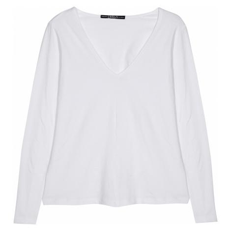 Tričko s dlouhými rukávy a výstřihem do bílá