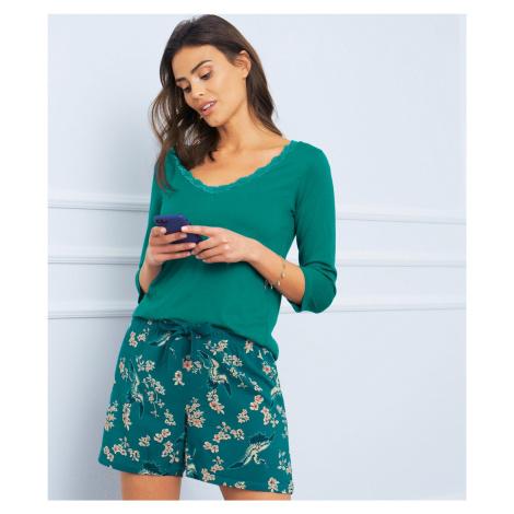 Blancheporte Pyžamové tričko s 3/4 rukávy smaragdová