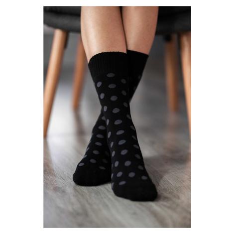 Zimní barefoot ponožky - Puntíky - černo-šedé 43-46