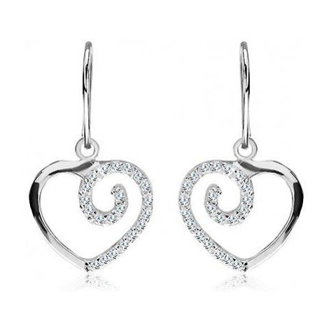 Visící náušnice ze stříbra 925 - srdce se zirkonovou spirálou Šperky eshop