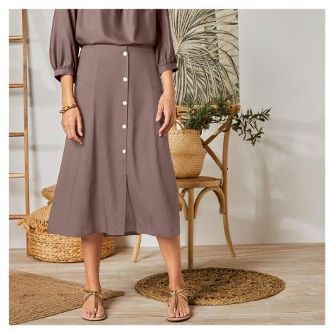 Blancheporte Jednobarevná dlouhá sukně s knoflíky hnědošedá