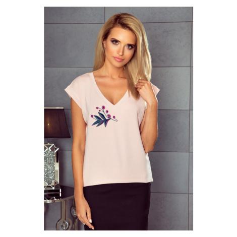 Dámské růžové tričko s výstřihem do V a potiskem K281