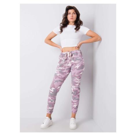 Fialové dámské kalhoty s maskáčovým vzorem jedna FPrice