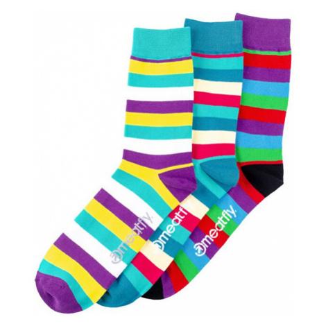 Meatfly PACK - pánské ponožky Dark Small Stripe socks S19 Multipack