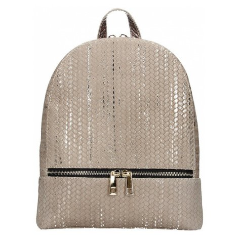 Dámský kožený batoh Facebag Paloma - béžovo-zlatá