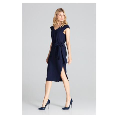 Elegantní modré midi šaty vínové s výstřihem do V vpředu a vzadu