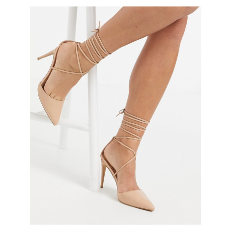 London Rebel strappy pointed heeled shoes-Beige
