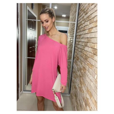 Růžové dámské šaty se spuštěným ramenem (667ART) jedna Made in Italy