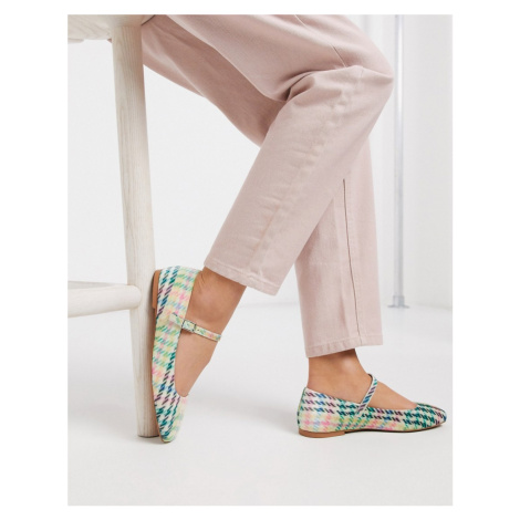 ASOS DESIGN Late mary jane ballet flats in check-Multi