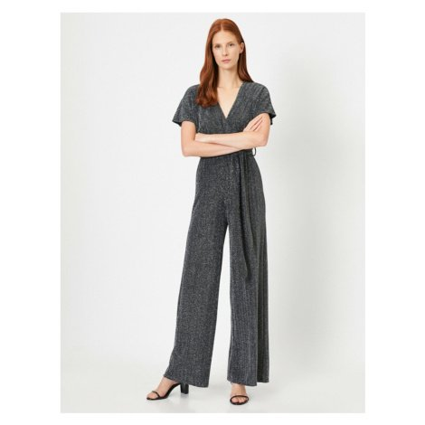 Koton Wide Long Leg Jumpsuit with Cruiser Waist Detailing