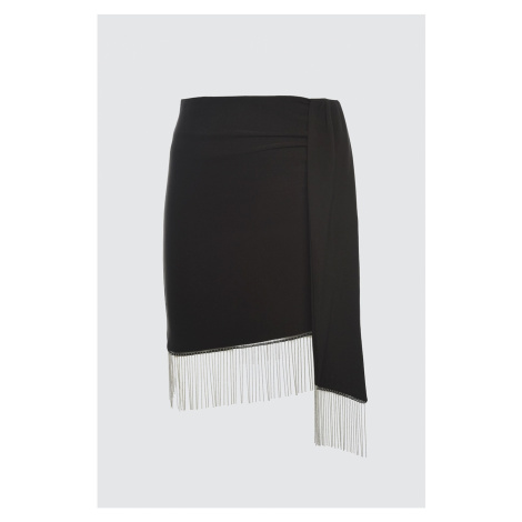 Trendyol Black Stone Aksesusar Detailed Skirt