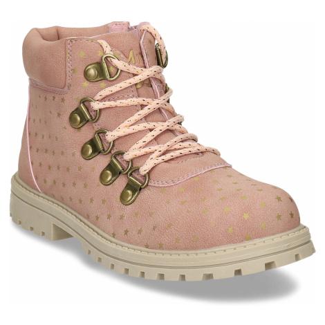 Růžová dívčí kotníková obuv s hvězdičkami Baťa