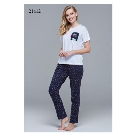 Dámské pyžamo (krátké rukávy/dlouhé kalhoty) 21412 bílá