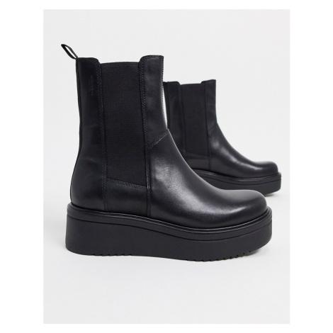 Vagabond Tara leather flatform chelsea boots in black