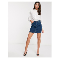 J.Crew Mercantile raw edge denim skirt-Blue