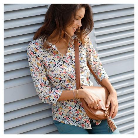 Blancheporte Košile s potiskem květin a dlouhými rukávy režná/modrá