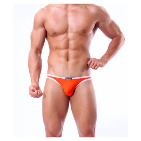 BRAVE PERSON pánské oranžové bokové slipy i plavky současně Swim s bílým lemováním