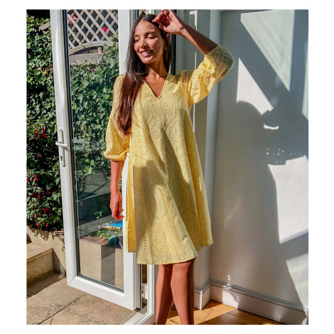 Y.A.S Tall broderie mini dress with puff sleeves in yellow-Orange