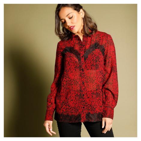 Blancheporte Košilová halenka s krajkou černá/červená