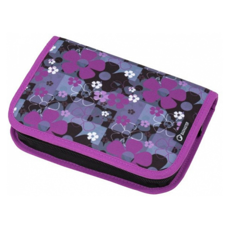 Dívčí jedchochlopňový penál motiv květin BAGMASTER CASE MERCURY 8 A BLACK/PINK/VIOLET