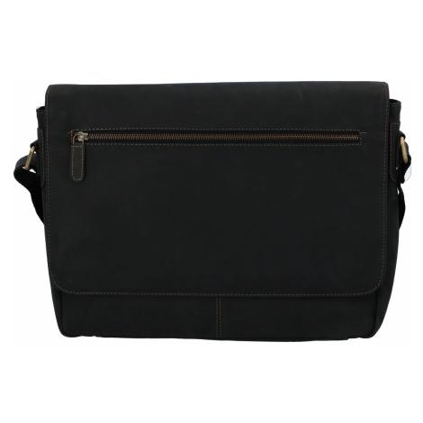 Pánská kožená taška černá - Tomas Woodoo Two