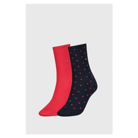 2 PACK červených dámských ponožek Tommy Hilfiger Dot