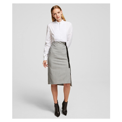Sukně Karl Lagerfeld Pencil Skirt W/Hook & Eye Tape - Šedá
