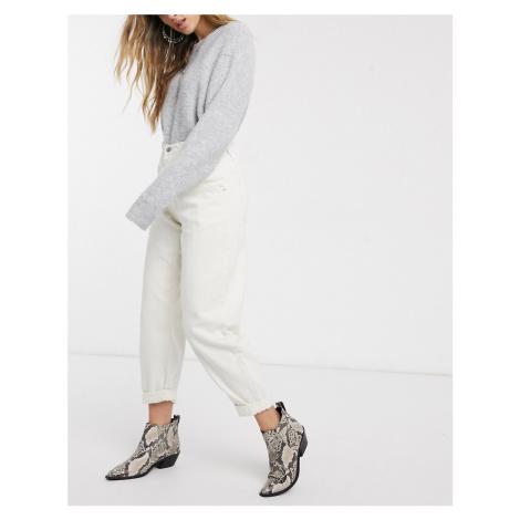 Bershka elasticated waist slouchy trouser in white-Cream