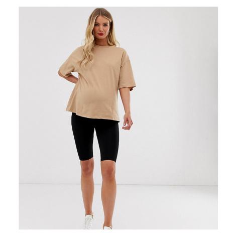 ASOS DESIGN Maternity over the bump basic legging shorts-Black