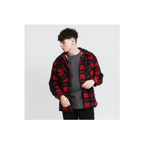 Urban Classics Plaid Teddy Lined Shirt Jacket černá / červená