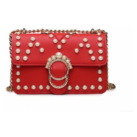 Červená dámská crossbody kabelka s řetízkvým popruhem Nathelen Lulu Bags