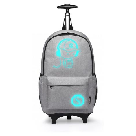 Šedý multifunkční zářící batoh na kolečkách Ziggy Lulu Bags