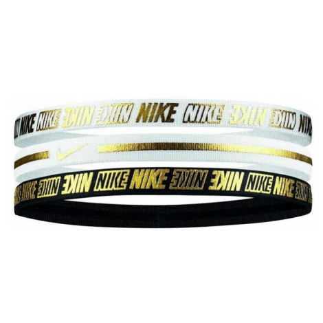 Čelenky Nike Metallic Headbands 3 pack Černá / Bílá
