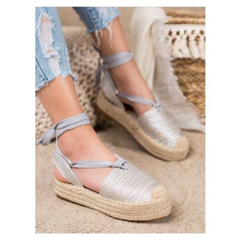 Originální dámské  sandály šedo-stříbrné bez podpatku Seastar