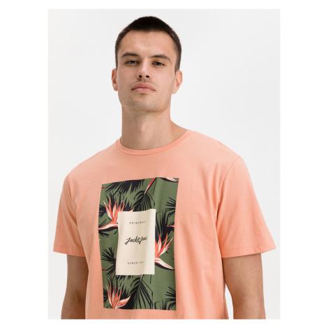 Floral Print Triko Jack & Jones Oranžová
