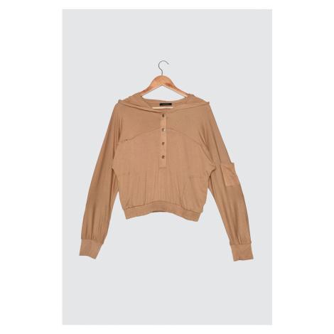 Trendyol Camel Crispy Hooded Knitted Sweatshirt
